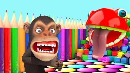 小猴子和吃豆小子比赛爬坡益智动画学颜色