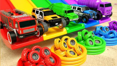 亲子早教动画大猩猩推消防车校车冲下滑坡换车轮