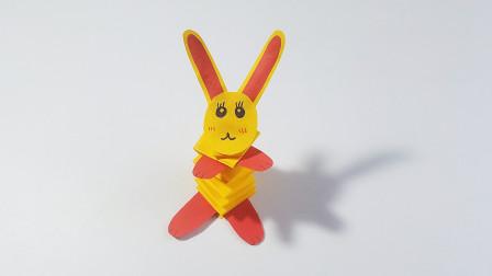 教你折纸弹簧兔,简单好玩,弹性十足