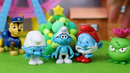 蓝精灵捏捏乐惊喜袋得到蓝包包和蓝爷爷