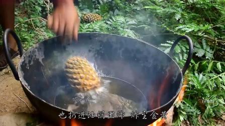 印度小哥野外炸香蕉,网友:忍了,炸菠萝,网友:忍不了!