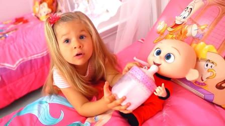 太可爱了!萌宝小萝莉能照顾好巴小杰吗?趣味玩具故事