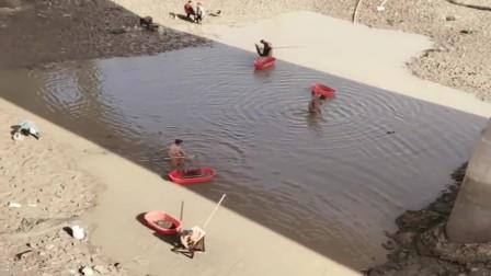 农村大河没水了,全村人都拿着洗脚盆来河里抓鱼,太热闹了!