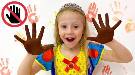 萌宝儿童玩具亲子早教故事:小萝莉怎么用手把颜料涂在墙上了?为何最后脸色都变了?