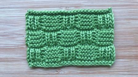 棒针方格花样的编织方法,双元宝和搓板针组合,立体有层次毛线编织教程钩法
