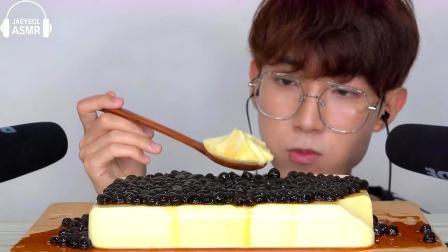 韩国美食小哥,试吃珍珠布丁,这么大一块看着就解馋