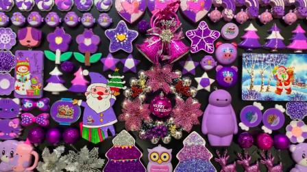 紫色无硼砂史莱姆教程,大白彩泥+圣诞雪人+圣诞铃铛,喜庆又好玩
