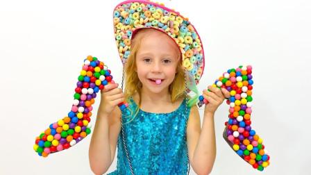 太有才了!萌宝小萝莉的帽子跟鞋子都是用糖果做的?趣味玩具故事