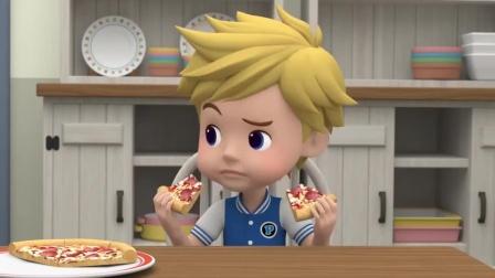 变形警车珀利:比特总是抢妹妹的吃的:一盘披萨就给妹妹留一块