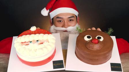 韩国吃播小哥,吃圣诞蛋糕和牛奶泡巧克力蛋糕,吃这么多不腻吗