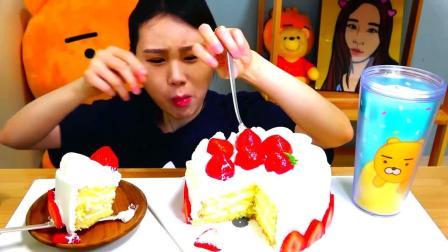 韩国大胃王卡妹,试吃整个奶油草莓蛋糕,看她吃的好过瘾啊