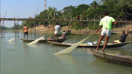 渔夫河边捕鱼,个个撒网技术一流,看看他们捕获了多少?