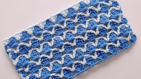 钩针编织鱼鳞片花样钩法简单效果却非常的漂亮钩针作品