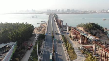 航拍厦门地铁四号线工程难度最大的同安大桥段,盛世无比的壮观