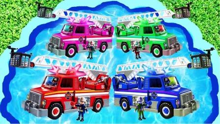 亲子早教益智玩具游戏:学习救火车和直升飞机等交通工具的英语和颜色