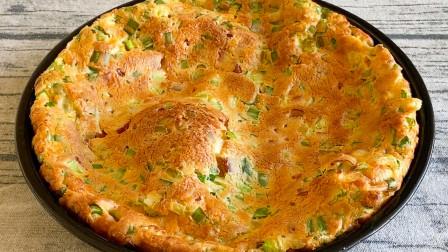 早餐不知道吃什么,3个鸡蛋一把葱花,做外国鸡蛋饼,鲜香又美味