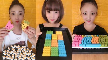 美女试吃巧克力小西瓜和巧克力键盘,巧克力华夫饼,各种口味任选,你想吃吗?