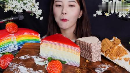 美女吃彩虹千层和巧克力千层蛋糕,咀嚼音绵密甜美,非常助眠
