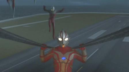 奥特兄弟集齐能量给了梦比优斯,让梦比优斯一人对付怪兽!