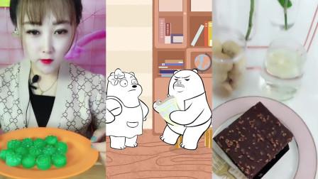 美女小姐姐直播吃:自制的包子冰块和布朗尼蛋糕,各种口味任意选