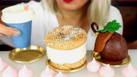 面对造型超级精致的杯装咖啡蛋糕,小姐姐还是下口了!