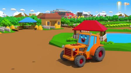 拖拉机在城市街道吹气球儿童搞笑卡通动画