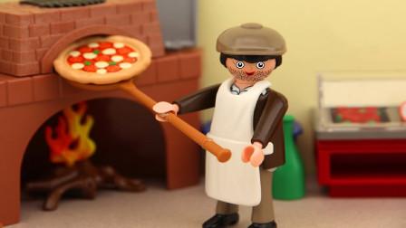 披萨店制作美味披萨外送