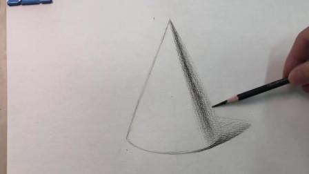 新手零基础素描在线学习教程:超详细讲解素描几何体圆锥体的画法!