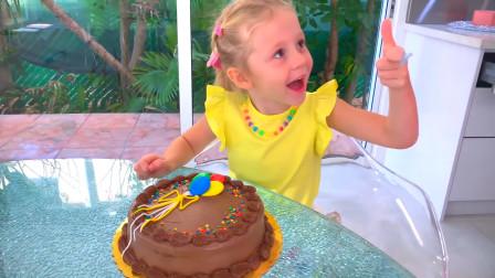 爸爸变身厨师给萌娃小可爱做了美味的生日蛋糕,真的太好吃啦!