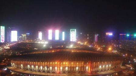 航拍济南奥体中心夜景