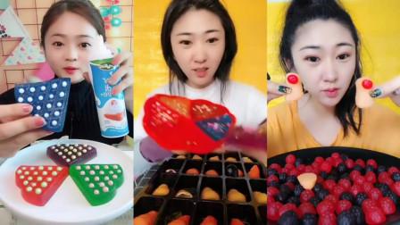 美女姐姐吃西瓜果冻,QQ糖,各种颜色,是我向往的生活