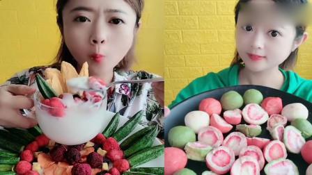 小姐姐直播吃酸奶果蔬脆、夹心巧克力,小时候的最爱