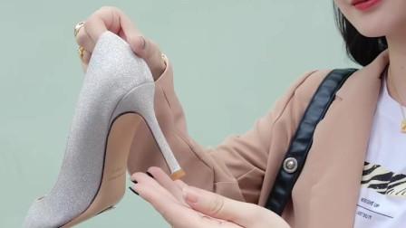 尖头高跟鞋细跟亮片新娘婚纱水晶鞋
