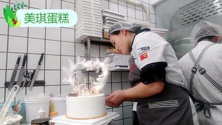 女友生日,我定做皇冠蛋糕欧式羽毛,女友看见了非常开心!