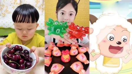 美女吃播:彩色螃蟹果冻,看着就有食欲