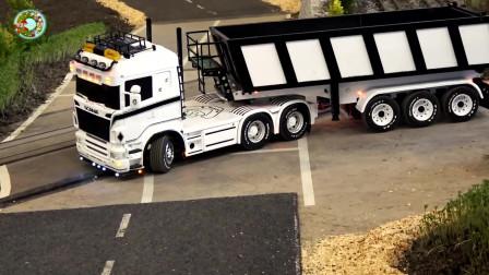 大型托运卡车,大客车玩具,仿真大卡车玩具