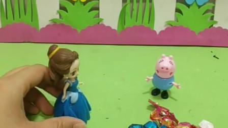 贝儿来找佩奇,结果被乔治误会了,他还以为贝儿是来要糖果的!