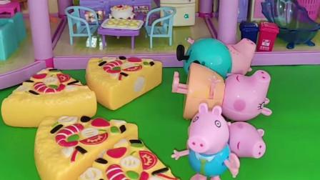 给小猪一家发披萨了,猪爸爸猪妈妈和佩奇都不要,乔治把披萨送给小朋友们了!