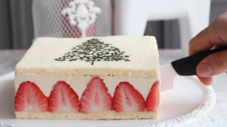 圣诞方形草莓蛋糕的制作方法,学会之后开心的迎接圣诞吧!