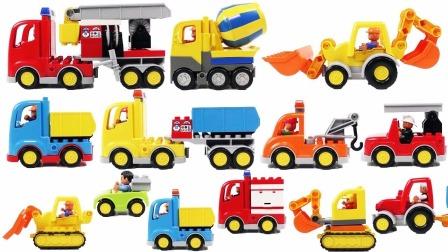 儿童益智玩具之乐高积木消防车和挖掘机
