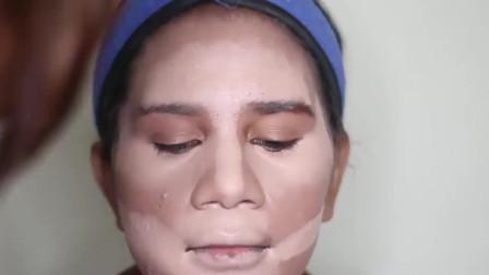 农村妇女脸上长了很多粉刺,画上新娘妆后,想不到这么的漂亮