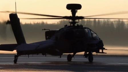 AH-64阿帕奇武装直升机发射地狱火反坦克导弹摧毁地面目标