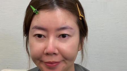 女子平时不修眉毛,画个眉形后,气质提升了几倍