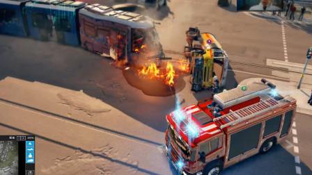 消防模拟 列车刹车失灵撞向卡车,消防车紧急出动
