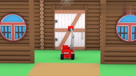 微型挖掘机,起重机,推土机制作了太阳能电池板儿童动画片
