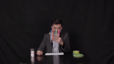 被老师罚抄怎么办?小伙用10根笔组成罚抄神器,抄几遍也不怕