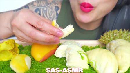 吃播微笑姐试吃新鲜大榴莲和榴莲酥,吧唧吧唧吃的好香啊