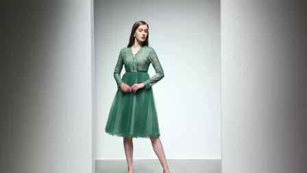 2020春装新款优雅名媛范仙女网纱裙气质V领修身压褶大摆连衣裙
