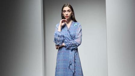2020春装新款欧美时尚气质印花V领显瘦灯笼长袖长裙大摆连衣裙