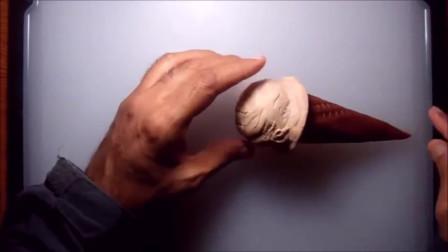 用黏土做甜筒冰淇淋